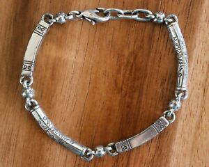 Brighton Etched Scroll Bar Chain Link Silver Bracelet Toggle Clasp