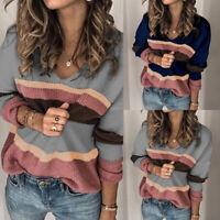 Mode Femme Manche Longue Col Rond Loose Casual Bande en Couleur Haut Shirt Plus