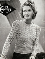 Vintage Visage repro1940s knitting pattern-ladies bunch of grapes jumper