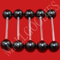 W005 Black Acrylic Tongue Rings Barbell Bar LOT of 5