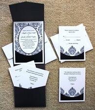 100 Personalized Custom Damask Pocket Bridal Wedding Invitations Set