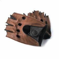 Half Fingerless Gloves Car Motorcycle Driving for Men Fashion Unlined Leather