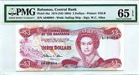 BAHAMAS 3 DOLLARS 1974 ND 1984 BAHAMAS CENTRAL BANK GEM UNC PICK 44 a VALUE $240