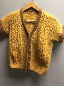 Vintage Mustard Yellow Brown Mohair Cardigan Top UK Small