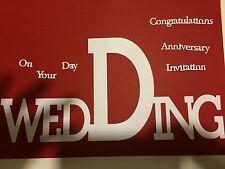 Wedding Large DIE CUT + sul tuo giorno, anniversario, congratulazioni, invito