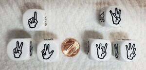 Dice - Koplow's 20mm ASL (Sign Language) - Set of Six>White (3) #1-6 & (3) #7-12