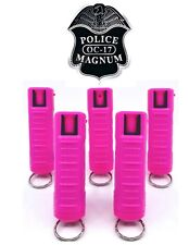 5 PACK Police Magnum pepper spray 1/2oz Hot Pink Molded Keychain Security