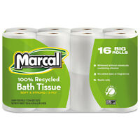 Marcal 100% Recycled Two-Ply Toilet Tissue White 16 Rolls/Pack 1646616PK