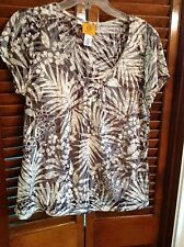 RUBY RD. Medium Gry/Brn/Wht Print 2 Pc. Pullover Top Blouse