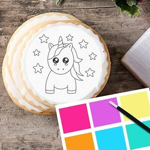 Paint Your Own PYO Unicorn Edible Cookie Cupcake Topper Kit