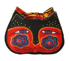 # LAUREL BURCH Coin Bag CAT KITTEN FACE HEAD ART Case Purse Pouch ORANGE BLACK