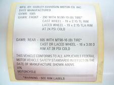 NOS Harley Frame GVWR Identification Label Shovelhead Superglide FX FXR ID Tag
