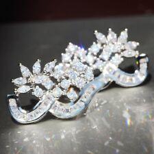Stud 925 Silver Filled long Earrings Gift 1 pair White Sapphire Ear Drop Dangle