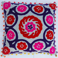 "16x16"" Indian Cotton Pillow Cases Handmade Suzani Embroidery Cushion Cover IFC18"