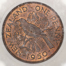 1950 NEW ZEALAND 1 ONE PENNY ICG MS64RB BU RED BROWN UNC (DR)