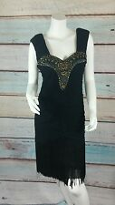 Sue Wong Nocturne Black Cocktail Evening Dress Beaded Size 8