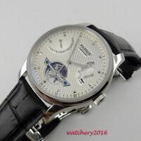 Luxus 43mm PARNIS Weiß dial Gangreserve Anzeige Leder Automatisch Uhr mens Watch