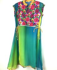 Vtg Mexican Cover Up Top Tunic Floral Embroidered Boho Fiesta Sheer Dress Medium