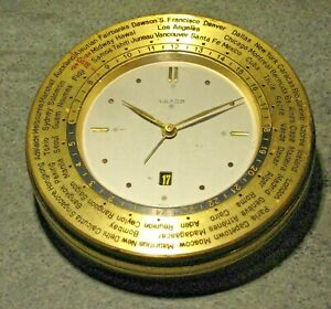 FINE MID CENTURY STYLE LUXOR SWISS WORLD TIME ZONE DESK CLOCK + CALENDAR WORKING