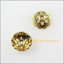 60Pcs Antiqued Gold Tone Flower Heart Spacer Beads End Caps 8mm