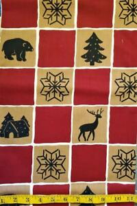 """2 Yds 16"""" Northwoods Squares Maroon/Tan Winter Holiday Christmas Cotton"""