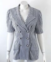 VTG 90s Miss Dorby Blazer Size 12 Gray White Striped Double Breasted Suit Jacket