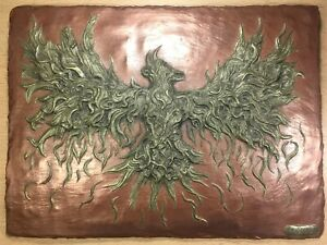 Cold Cast Brass & Copper Phoenix Sculpture Signed Wall Art Relief HAND MADE