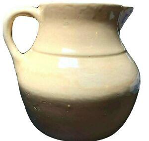 Vintage UHL Pottery Yellow Drip Glaze 2 Qt Stoneware Pitcher Huntingburg USA