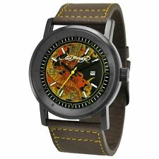 NEW Ed Hardy KM-DR Mens Kombat Artistic Yellow Dragon Tattoo Brown Leather Watch