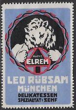 German Cinderella: 1920 ELREM Leo Rübsam Munich Deli Specialty: Mustard- cw47.25