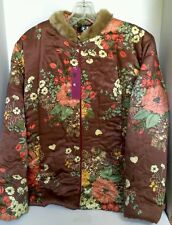 Fashionable Jacket Floral Large L Faux Fur Collar New Soft & Lightweight