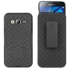 For Samsung Galaxy J3 2016 J3V Express Prime AMP Shell Holster Black Combo Case