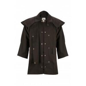 New Burke & Wills Unisex Oilskin Stockmans 3/4 MidLength Coat Adult Jacket Brown