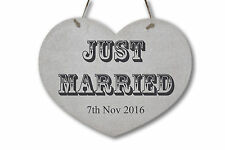 """Personalised Wedding """"JUST MARRIED"""" Sign ❤ Rustic Wooden Sign ❤ Chic Heart"""