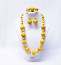Chunky Yellow Puffy Donut Wood Bead Necklace/Bracelet/Earrings Set