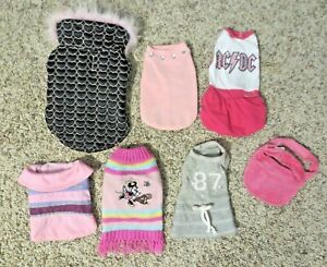 Girl Dog Clothes Outfits  Lot Of 7 Never worn  SIZE Extra Small  XS