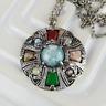 Vintage Celtic Cross Pendant - Faux Pebble Necklace - Scottish Jewellery