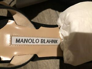 Authentic Manolo Blahnik Carolyne black suede slingback 37 with box and receipt