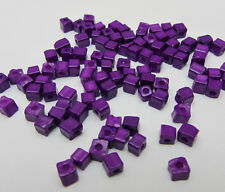 Dark Purple 3-4MM 180pcs Loose Charm Glass Square spacer Beads DIY Crafts