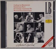 BEETHOVEN: Symphony 5, Leonore, Bernstein DGG Full Silver WEST GERMANY Import CD