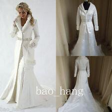 Winter Bridal Cloak Cape White/Ivory Long Sleeve Faux Fur Coat Warm Wedding Wrap