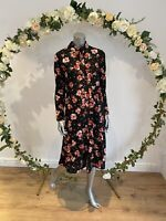Wednesday's Girl Dress Size 8 18 22 Black Floral Shirt Smock Dress Midi GU91