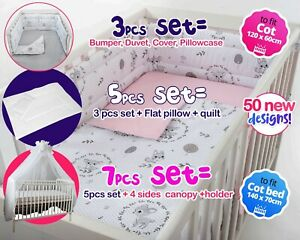 3,5,7 pcs set BABY BEDDING NURSERY SET FIT COT OR COT BED - BUMPER+COVERS + more