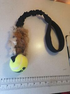 dog Bungee ball with  genuine rabbit skin    tuggy toy agility training