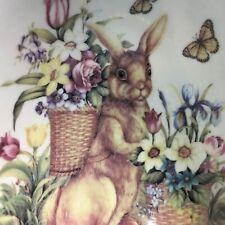 Cracker Barrel Easter Treasures Scalloped Oval Bowl Bunny & Floral Basket Design
