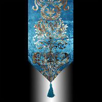 NEW LUXURY SHINY BLUE VELVET DAMASK DECO TASSELS WEDDING BED TABLE RUNNER CLOTH