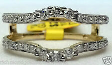 Yellow Gold 0.37ct Solitaire Enhancer 3 Three Stone Diamond Ring Guard Wrap Band