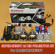 "35W 3"" HID BI-Xenon Projector Lens Headlight LED Kit Angel Devil Eyes Halo H/L"