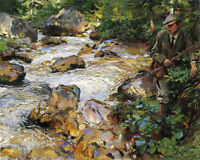 Oi painting John Singer Sargent - Trout Stream in the Tyrol with young man
