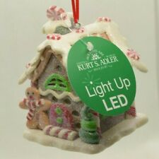 New ListingGingerbread House Led Christmas Tree Ornament Kurt S. Adler New (Red White)